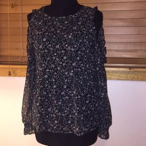 American Eagle Floral Cold Shoulder Blouse - Small
